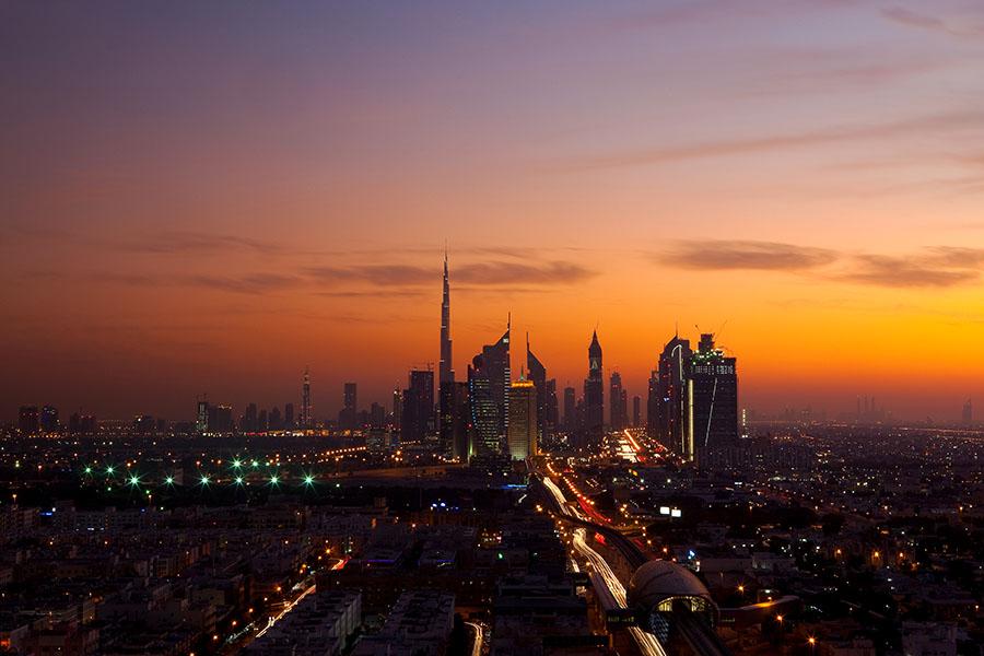 Blick auf Dubai bei Sonnenuntergang, 2011